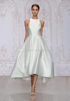 Wholesale monique lhuillier illusion - tea length satin A-line wedding dresses 2017 Monique Lhuillier bridal jewel neckline sleevless zipper back wedding gowns