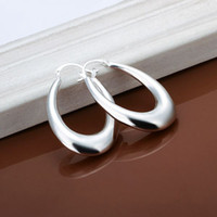 Wholesale Ruby Hoop Shipping - E115 Fashion jewelry silver plated hoop earrings for women Free shipping Beautiful bijoux boucles d'oreilles