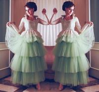 vestido vintage longo al por mayor-Vintage menta árabe vestidos de noche 2016 de encaje de manga larga en tul vestidos de fiesta Vestido Longo piso-longitud desgaste formal vestidos de fiesta