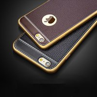 Wholesale Iphone Back Plates - Leather TPU Phone Case Litchi Grain Luxury Plating Phone Back Cover for iphone 5S SE 6s plus iphone 8 7 plus Samsung S8