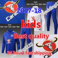 Wholesale Set Coat Pants Kids - BEST 2017 18 KIDS Tracksuit Chelsea Soccer SETS Jacket Jogging Football Top Coat Pants Sports Training Suit 2017 2018 HAZARD KIDS Track Suit