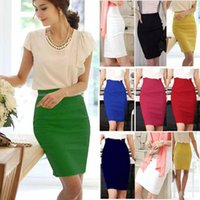 Wholesale Green High Waist Pencil Skirt - Pencil Skirt Women Plus Size High Waist Slim Hips Candy Color Formal Saias Feminino Lady Classic Knee Length Office Skirts