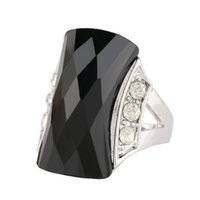 Al por mayor-Vintage Punk Rock Antique Silver Big Black / Green Resina Crystal Stone Ring Fashion Women Gift Party Finger joyería anelli donna