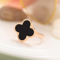 Wholesale Rose Plant Leaves - 18K Rose Gold Plated Rings Four Leaves Clover Design Lady Finger Ring Ajustable Size Fit all For Girls OL Women