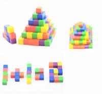 pacote de tijolos venda por atacado-CCX Cor De Madeira Tijolo Cúbico Puzzle Game Piece (embalagem de 100 Pcs) Com Caixa De Plástico DIY Blocos 2.5 cm DIY Art Supplies Dice Set Brinquedos De Madeira Cubos