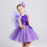 Wholesale Christmas Outfits Girls Pageants - 2016 Summer Outfits Rose Tank Dresses Children Dress With Bow Flower Girls Dresses Girls Birthday Kid Pageant Dresses