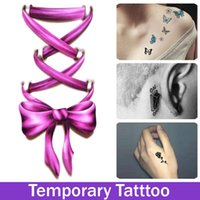 Wholesale Tie Ankle Wrist - Fashionable Tattoos Bowknot Tie Temporary Tattooing Stickers for Woman Girls Arm body Art Tatoo Choker Stickers