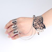 Wholesale Chain Connect Ring - Hot Women Silver Plating Cuff Slave Bracelet Connected Hollow Flower Bell Dancing Ring Slave Bangle Lots 6Pcs