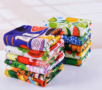 Wholesale Cotton Tea Towels Wholesale - Hot sale Kitchen Towel Dish Cleaning Cloth 5pcs lot Microfiber absorbent Colorful Reactive printed Tea Towels Cooking Tools