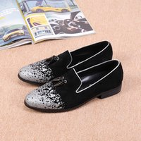 Wholesale Dress For Celebs - New Fashion Italian Luxury Celeb Style Sliver Loafers Shoes for Men Summer Genuine Leather Flats Shoes Zapatos Plus Size 38-46