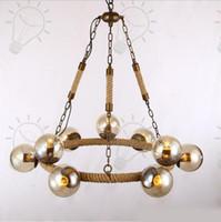 modo kolye lambaları toptan satış-Vintage MODO Kolye Işıkları Kenevir halat Demir sanat Kolye Lamba Amber Cam Lamba gölge Avize Ev Bar Aydınlatma Armatürü