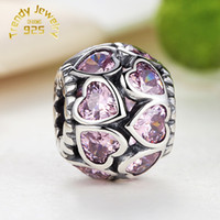 Wholesale 925 Ale Jewelry - Heart 925 Ale Sterling Silver Loose Beads Authentic Charm Doule Heart Love ALL AROUND Jewelry with Pink CZ DIY Accessories