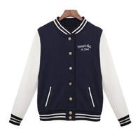 Wholesale Wholesale Baseball Uniforms Jackets - 2017 Fashion Women Long Sleeve Slim Baseball Uniform outerwear bomber jacket baseball jacket High Quality