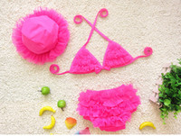 Wholesale Bikini For Year Old - 4 Colors Girls Swimwear Lace Tiered Bikini+Cap Swimming Suit For 1-8 years old baby girls