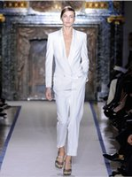 Wholesale Tuxedo S Grey - 2016 Charming White Women Tuxedos Shawl Lapel Suits For Women One Button Business Women Suits two piece Suit