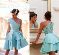 vestido de festa curto azul claro venda por atacado-Luz azul de um ombro curto vestidos de festa camadas de cetim e vestidos de cocktail de renda à noite Vestir Formal vestidos de baile Vestidos Homecoming