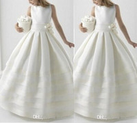 Wholesale Lace Jackets For Wedding Dresses - Two Piece Handmade Pageant Dresses With Jacket Ball Gowns For Girls Flower Girl Dress 2018 Holy First Communion Dresses For Weddings Formal