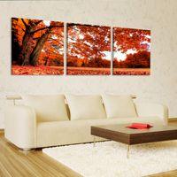 çinli ağaç sanatı toptan satış-Ücretsiz kargo 3 Parça çerçevesiz Ev dekorasyon sanat resim Tuval Baskılar ağacı orman nehir yaprağı çince karakterler Soyut çiçek kadın