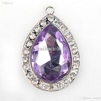 Wholesale Purple Amulet Necklace - Wholesale-43*29mm Princess Sofia Purple Teardrop Rhinestone Pendant, Sofia the First Inspired Chunky Amulet Pendant, Rhinestones 10pcs lot