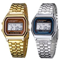 Wholesale man lcd watches - New Fashion silver gold Classic Men Women Retro Stainless Steel LCD Digital Sports Stopwatch Wrist Watch