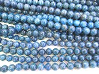 Wholesale round gemstone beads 14mm - wholesale 4-14mm full strand Natural Apatite Gemstone Round Ball Blue Loose Bead