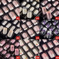 Wholesale Decoration False Nails - False Nail DIY Instant Nail Decoration Wedding Bride Fake Nail Tips 9 Pattern For Your Option With Nail Glue