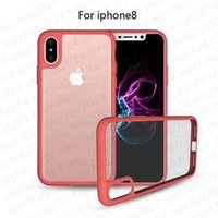Wholesale Tpu Pc Bumpers - 100PCS Shockproof Armor Case Soft TPU Bumper & Clear PC Back Cover Defender Case for iPhone X 8 7 Plus 6 6s Plus
