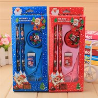 Wholesale Gift Set Stationery Red - 2016 New arrival Christmas 5pcs stationery set pencil box Children supplies pencil children creative Christmas gifts free shipping480pcs lot