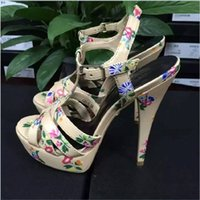 Wholesale Sexy Shoes Small Heels - Hot European Small Flower Famous Brand Platform Pumps Thin Super High Heel Sandals Sexy Dress Shoes Lady Party Sandals ML2128-7