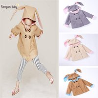Wholesale Double Breasted Rabbit Coat - New Winter Autumn INS Baby girls Rabbit coat Woolen cloth rabbit ears Double-breasted Outwear clothing baby hooded jacket DHL C1196