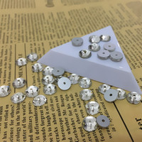 Wholesale hole stone - 3mm 4mm 5mm 6mm 8mm Round Shape Sew On Stone Crystal Color XILION Lochrose Sew On rhinestone with One Hole for wedding dress