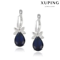 Wholesale Royal Blue Flower Earrings - Xuping Royal Blue Gemstone Charm Earrings Qualiity Waterdrop Zirconia Dangle Copper Earrings With Rhodium Plated Fashion Party DH-19-10K0059