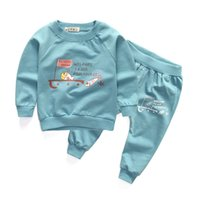 Wholesale Trousers Designs For Girls - Wholesale- New cotton casual baby boys girls clothing sets fish design long sleeve tops + trousers suits for infant children autumn clothes