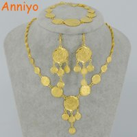 Wholesale Muslim Islamic Bracelet - Anniyo Arab Metal Coin Jewelry set Necklace Earrings Bracelet Gold Color Islamic Muslim Ancient Coin set Africa Gifts #049002