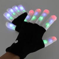 Wholesale white rave glove lights - Party LED Rave Gloves Mitts Flashing Finger Lighting Glove LED Colorful 7 Colors Light Show Black & White
