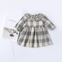Wholesale Wholesale American Doll Clothes - (Girl's Dresses New 2017 Baby Kids Clothes Long Sleeve Cotton Plaid Pattern Dress Doll Collar Children Toddler Girl Dress Grey A7454