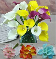 Wholesale Calla Lily Vases - Wholesale- 20pcs lot Artificial Flowers Real Touch Calla Lily for Wedding Bouquet Party Home Decoration 10 colors (no vase)