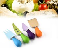 Wholesale colorful knives resale online - 4Pcs Set Colorful Cheese Knife Colour PP Handle Stainless Steel Cheese Pizza Cutter Kitchen Bakeware Sets
