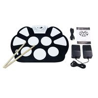 Wholesale Desktop Drums - Wholesale-Digital PC Desktop USB Silicon Foldable Roll Up Drum Pad Kit With Stick New Arrival
