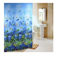 Wholesale Eva Shower Curtains - New 180 x180cm Sea Life Waterproof Fabric Bathroom Shower Curtain Shower Screen Light Blue With 12pcs Curtain Hooks Rings order<$18no track