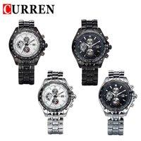 бесплатная поставка оптовых-CURREN новая мода повседневная кварцевые часы мужчины большой циферблат водонепроницаемый хронограф releather наручные часы relojes бесплатная доставка 8083