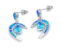 mavi ay küpeleri toptan satış-Toptan Perakende Moda Mavi Güzel Yangın Opal Ay Küpe 925 Şerit Takı EF17083108
