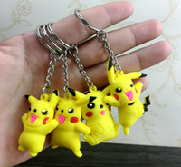 Wholesale Silicone Men Dolls For Women - Poke mon Silicone Keychains 3D Doll Cartoon Pocket Monster Pikachu Keychain Key Ring Christmas Gifts For Children