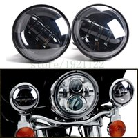 """Wholesale motorcycle lamp led auxiliary - 4-1 2"""" 4.5"""" Harley Black Chrome LED Fog Lights Projector Auxiliary Daymaker Headlight Motorcycle Passing Fog Light Lamps For Harley Davidson"""