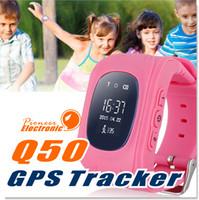 ingrosso locatore di vigilanza dei capretti-Q50 LCD Tracker GPS per bambini Kid smart watch SOS Chiamata sicura Location Finder Locator Tracker smartwatch per bambini Bambini Anti perso Monitor