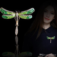 Unique Cute Dragonfly Broche Pin Enamel Crystal Rhinestone Lovely Jóias para Mulheres Gift Animal Broches Free ship