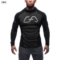 Wholesale Tight Black Jackets - Wholesale-Fashion Men Active Long Sleeve Sports Hoodie Workout Jacket Male Black Skateboard Hoodies Sexy Gym Fitness tight Sweatshirts Top