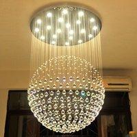 große kronleuchter beleuchtung großhandel-Neuer moderner Kristallleuchter der Kugel-LED K9 großer Leuchter beleuchtet modernen Kristallleuchter des Wohnzimmers GU10 der Leuchter