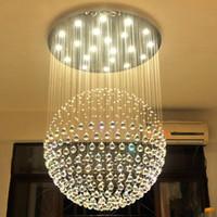 novos lustres modernos venda por atacado-New Modern LED K9 Bola de Cristal Lustres de cristal grande lustre luzes lustres de sala de estar moderna GU10 rústica lustre de cristal