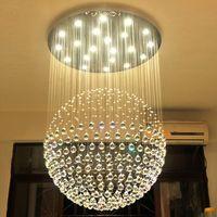 eski avize kristalleri toptan satış-Yeni Modern LED K9 Topu Kristal Avizeler büyük avize ışıkları avizeler modern oturma odası GU10 rustik kristal avize